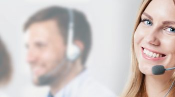 Close-up of a woman working in a call centre